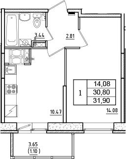 1-к.кв, 31.9 м², 15 этаж
