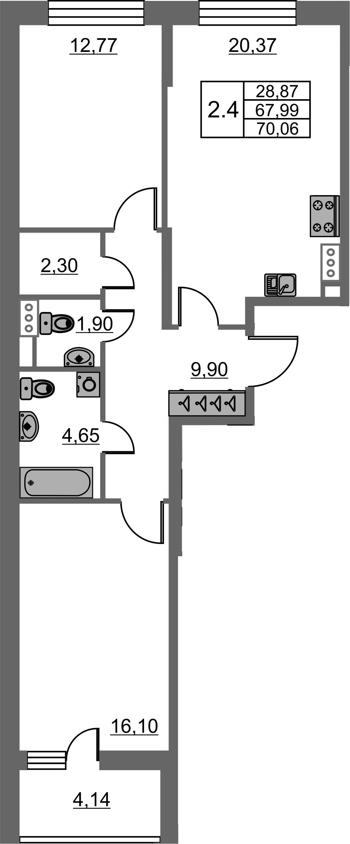 3-к.кв (евро), 72.13 м²