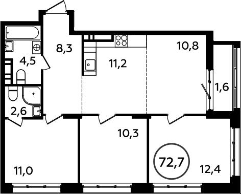 4Е-комнатная, 72.7 м²– 2