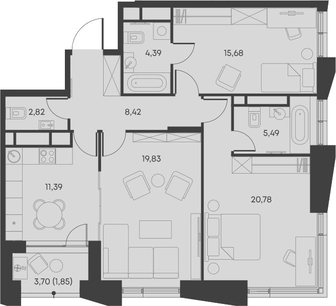 3-комнатная, 90.65 м²– 2