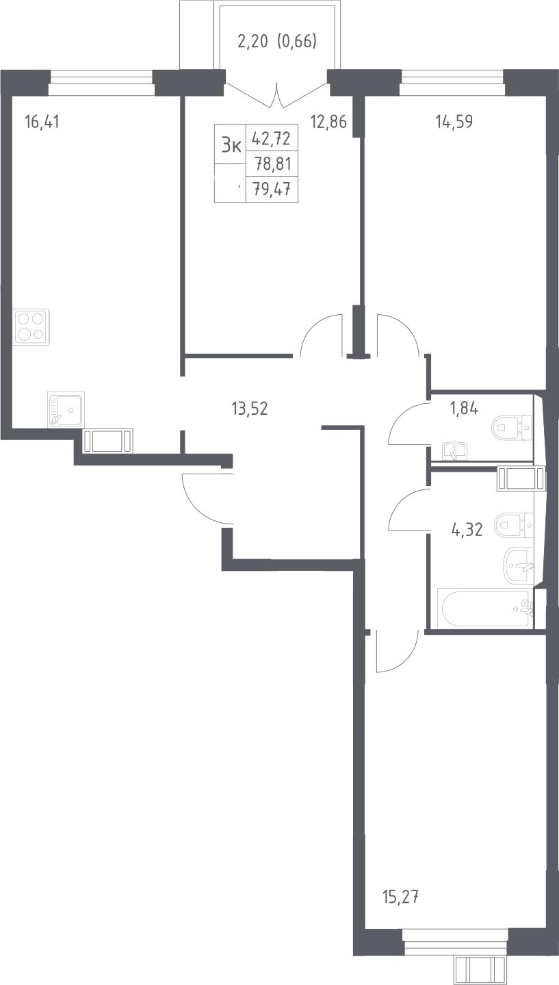 4Е-к.кв, 79.47 м², 13 этаж