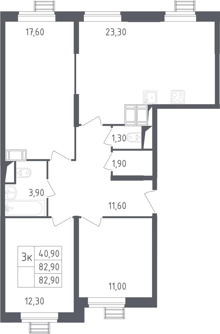 4-к.кв (евро), 82.9 м²