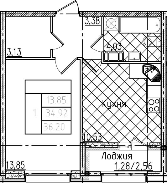 1-комнатная квартира, 36.2 м², 4 этаж – Планировка
