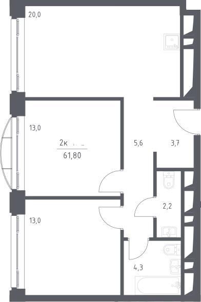 3Е-к.кв, 61.8 м², 19 этаж