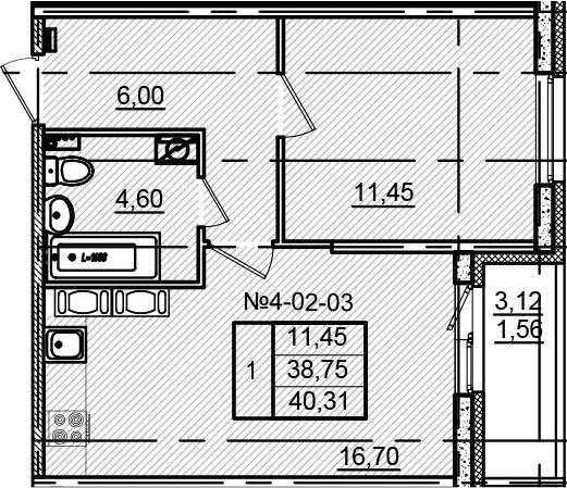 2-к.кв (евро), 41.87 м²