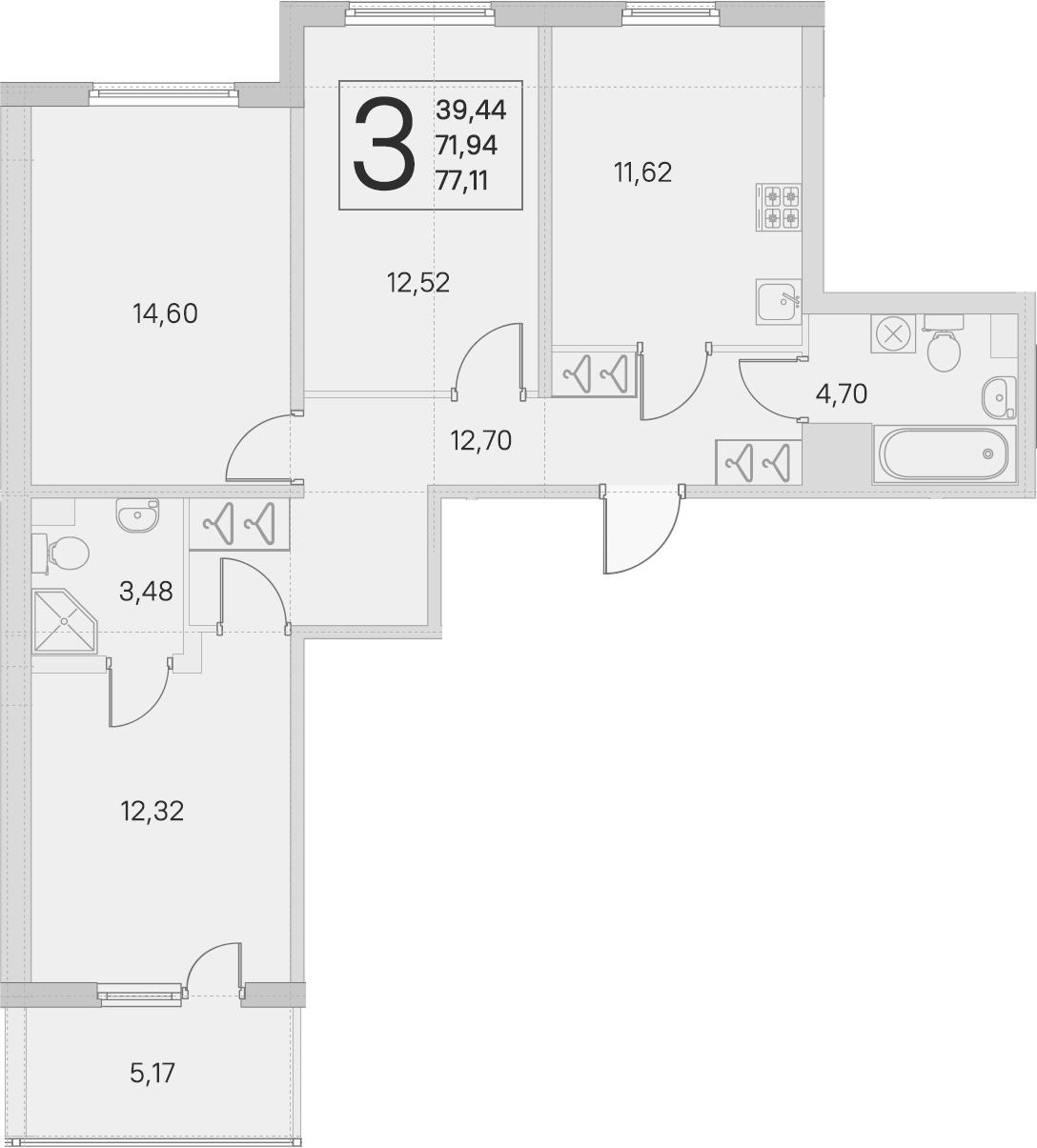 3-к.кв, 71.94 м²