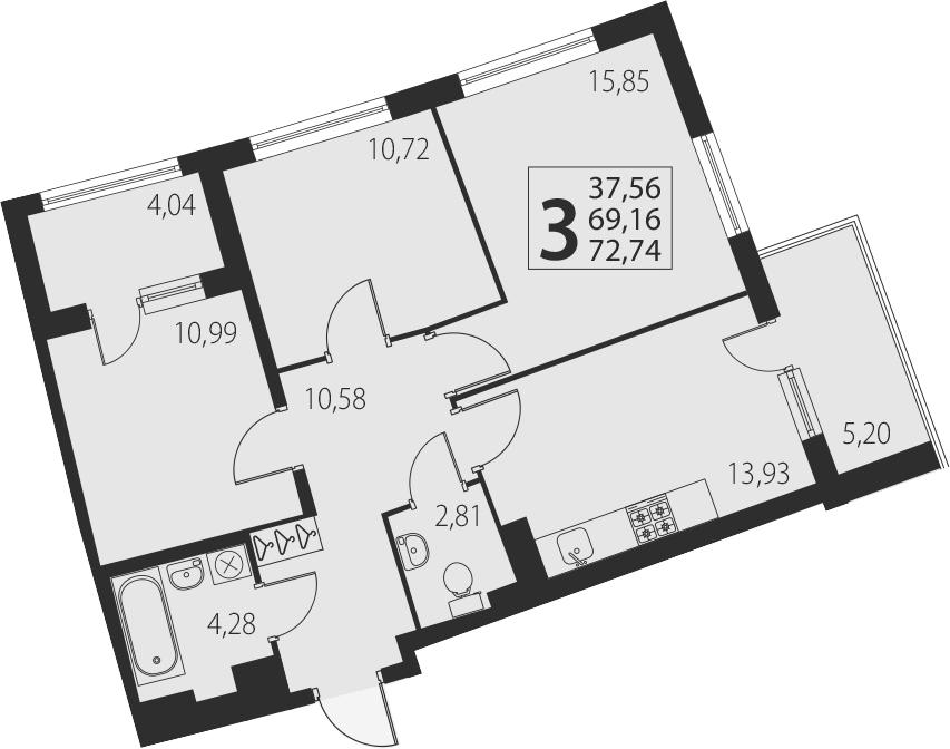 3-к.кв, 69.16 м²