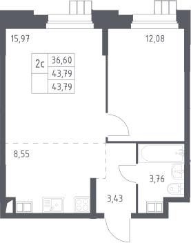 2Е-к.кв, 43.79 м², 12 этаж