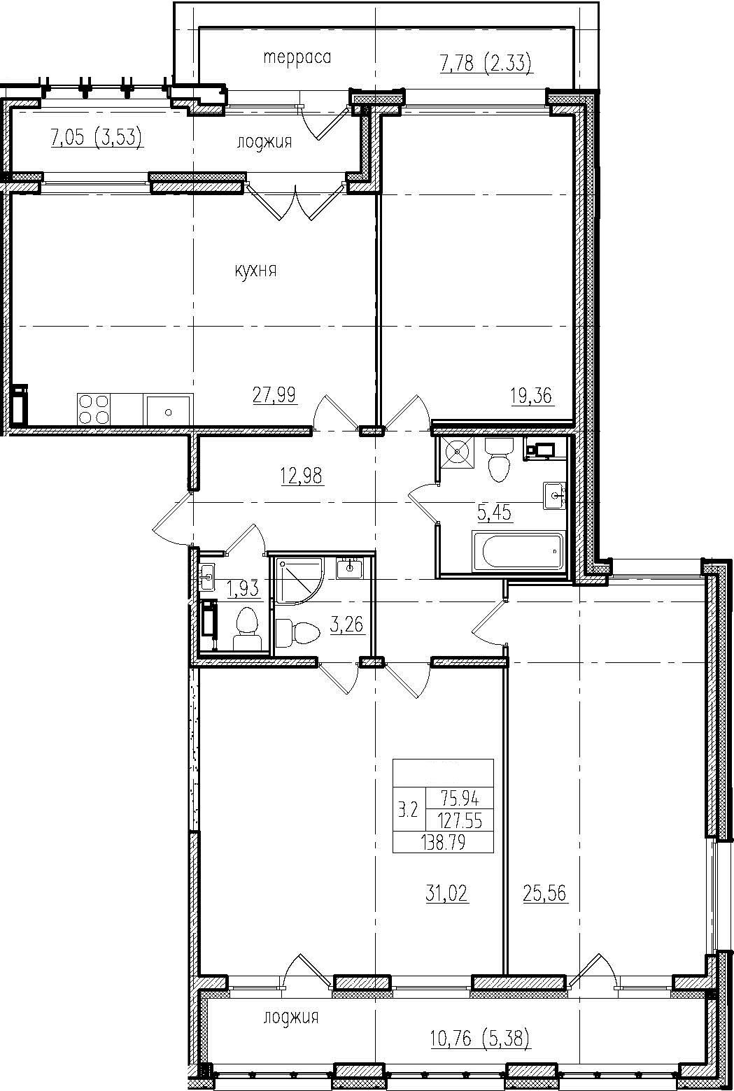 4Е-комнатная, 138.79 м²– 2