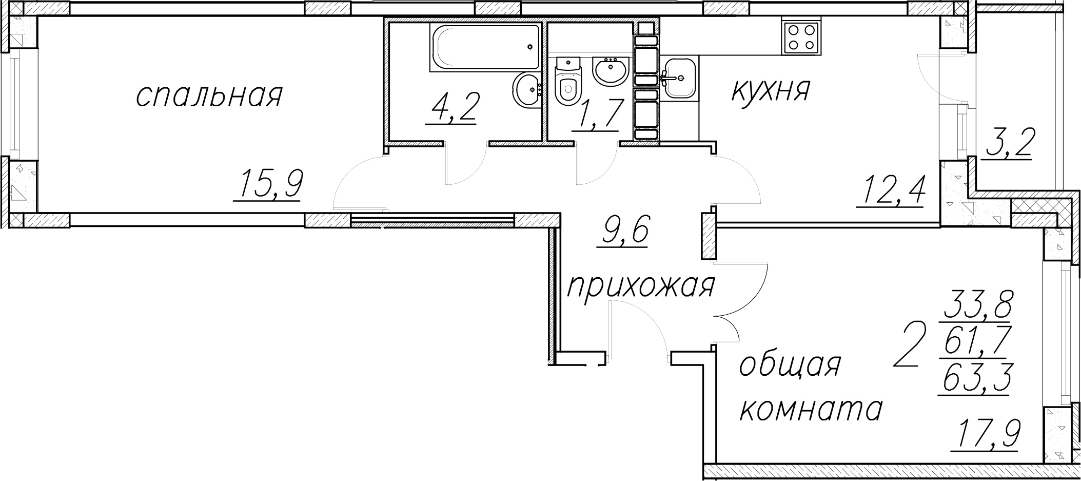 2-к.кв, 64.9 м²