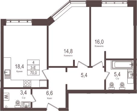 3-к.кв (евро), 70 м²