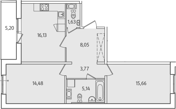 3Е-к.кв, 67.46 м², 7 этаж