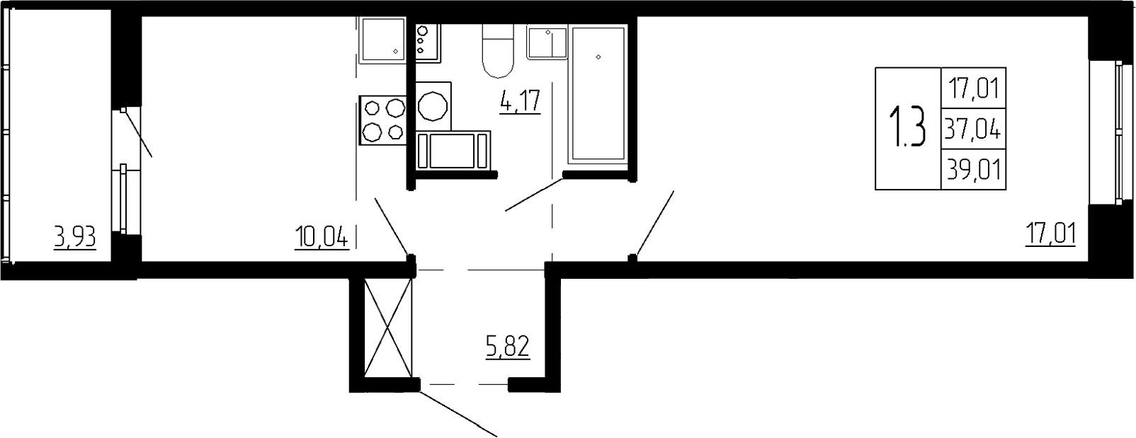 1-к.кв, 37.04 м², 2 этаж