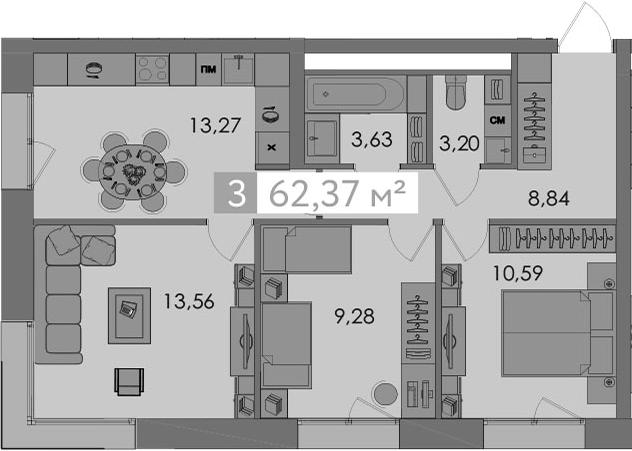 3-к.кв, 62.37 м²
