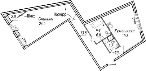 2-к.кв (евро), 68.1 м²