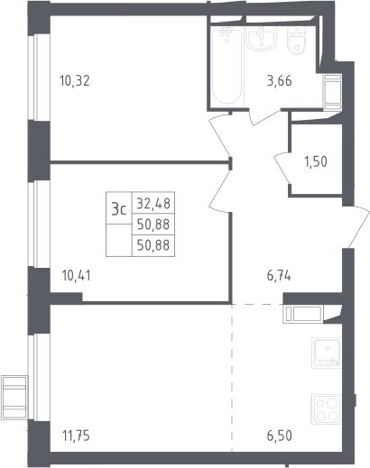3Е-комнатная, 50.88 м²– 2