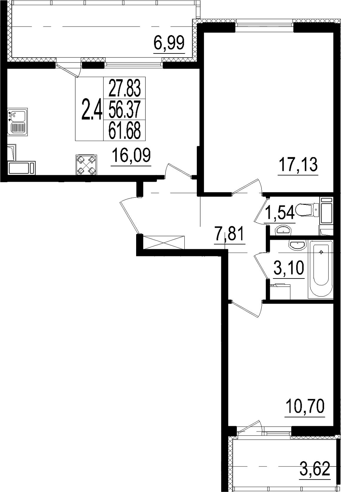 3Е-к.кв, 56.37 м²