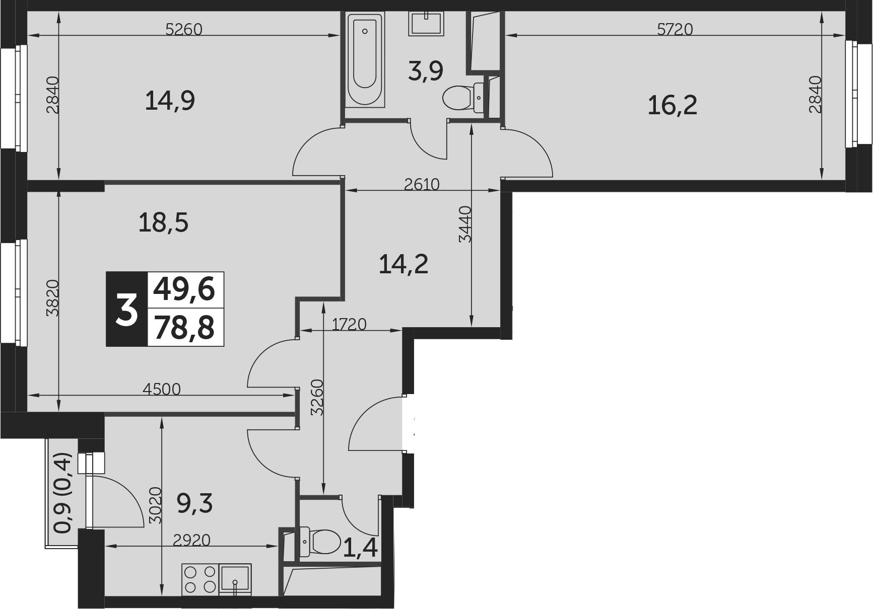 3-к.кв, 78.8 м²