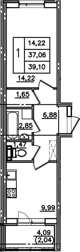 1-комнатная, 39.11 м²– 2