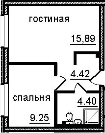 2-к.кв (евро), 33.96 м²