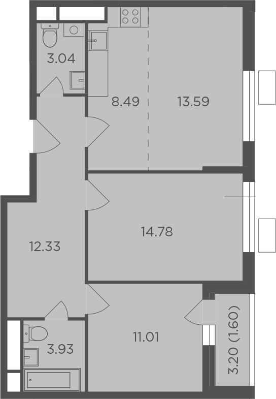 3Е-к.кв, 68.77 м²