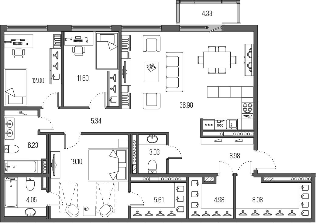 4Е-комнатная, 125.98 м²– 2