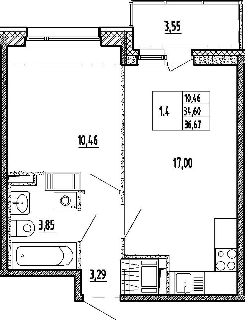 2Е-к.кв, 34.6 м²