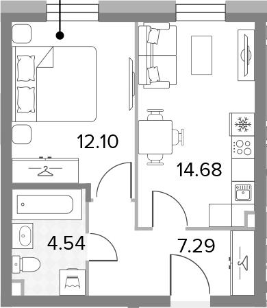 1-к.кв, 38.61 м²