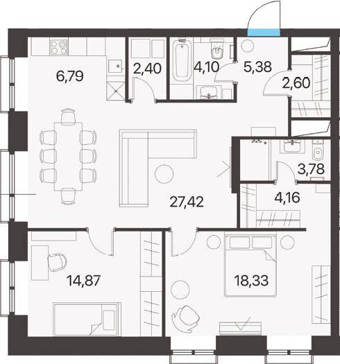 3Е-комнатная, 89.83 м²– 2