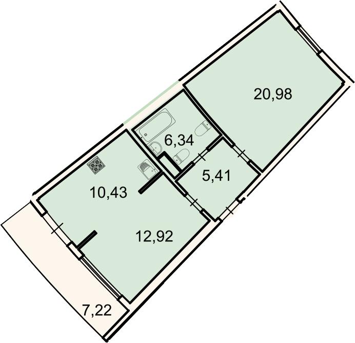 2-к.кв, 58.2 м², 2 этаж