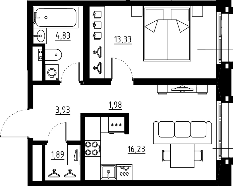 2Е-к.кв, 42.19 м², от 7 этажа