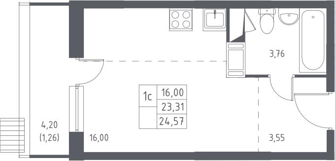 Студия, 24.57 м², от 16 этажа