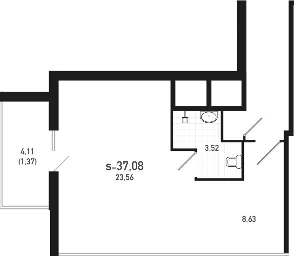 Студия, 37.08 м²– 2