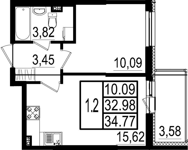 2Е-к.кв, 32.98 м²