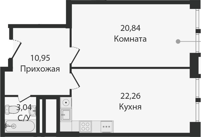 2Е-комнатная, 57.09 м²– 2