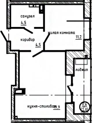 1-комнатная, 42.9 м²– 2