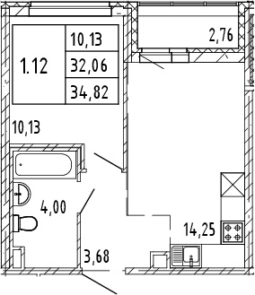 2Е-к.кв, 32.06 м², 2 этаж