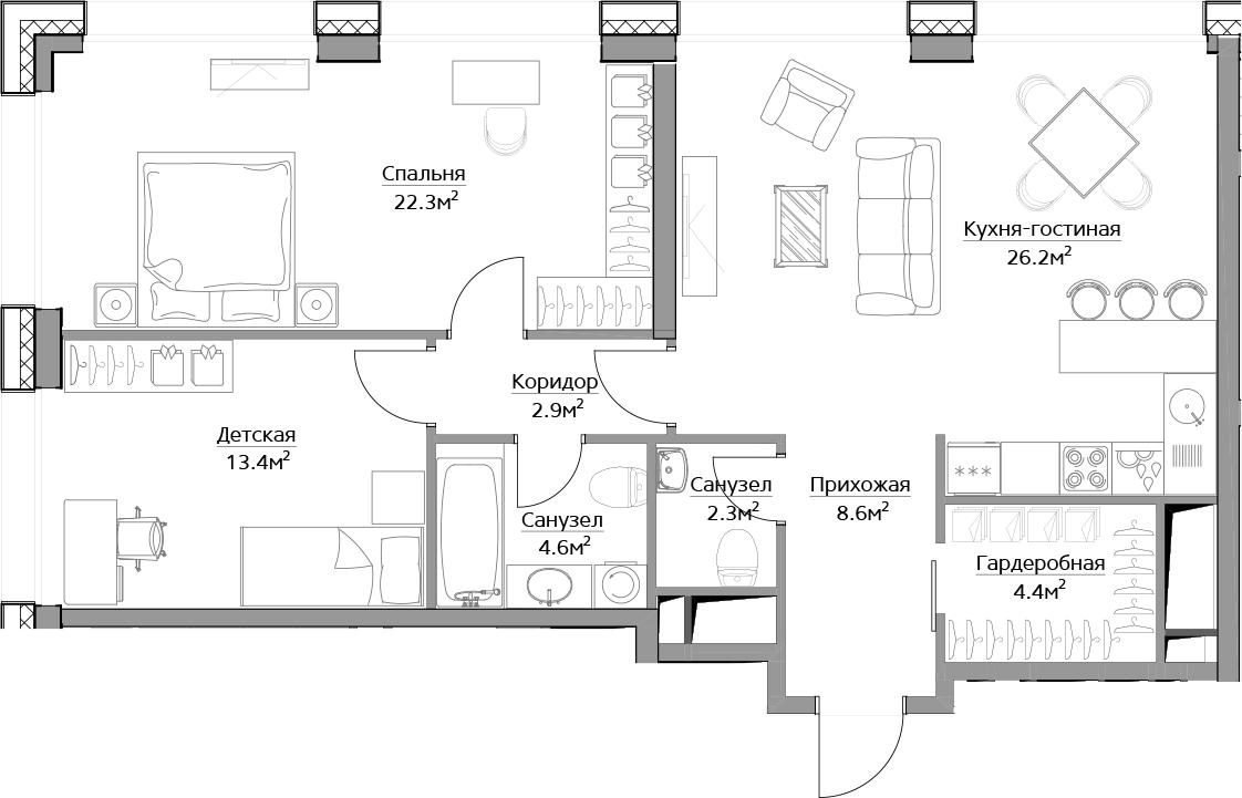 3Е-комнатная, 84.7 м²– 2
