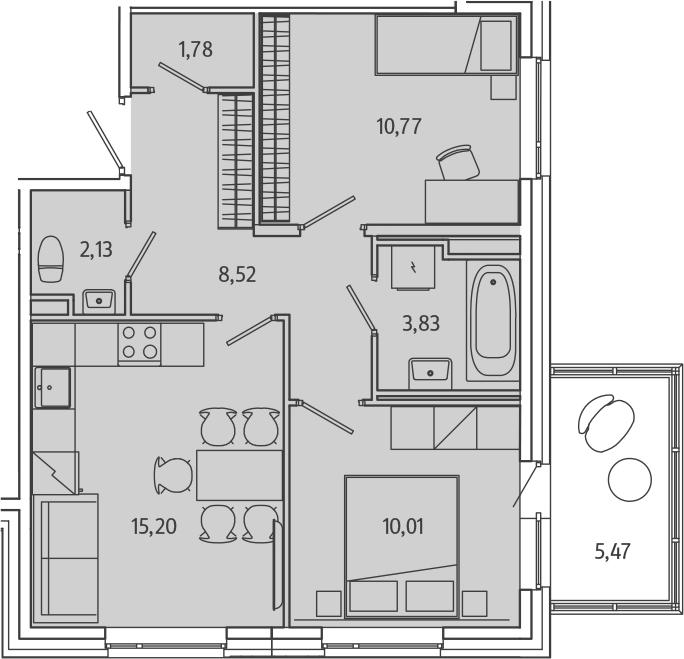 3-к.кв (евро), 57.72 м²