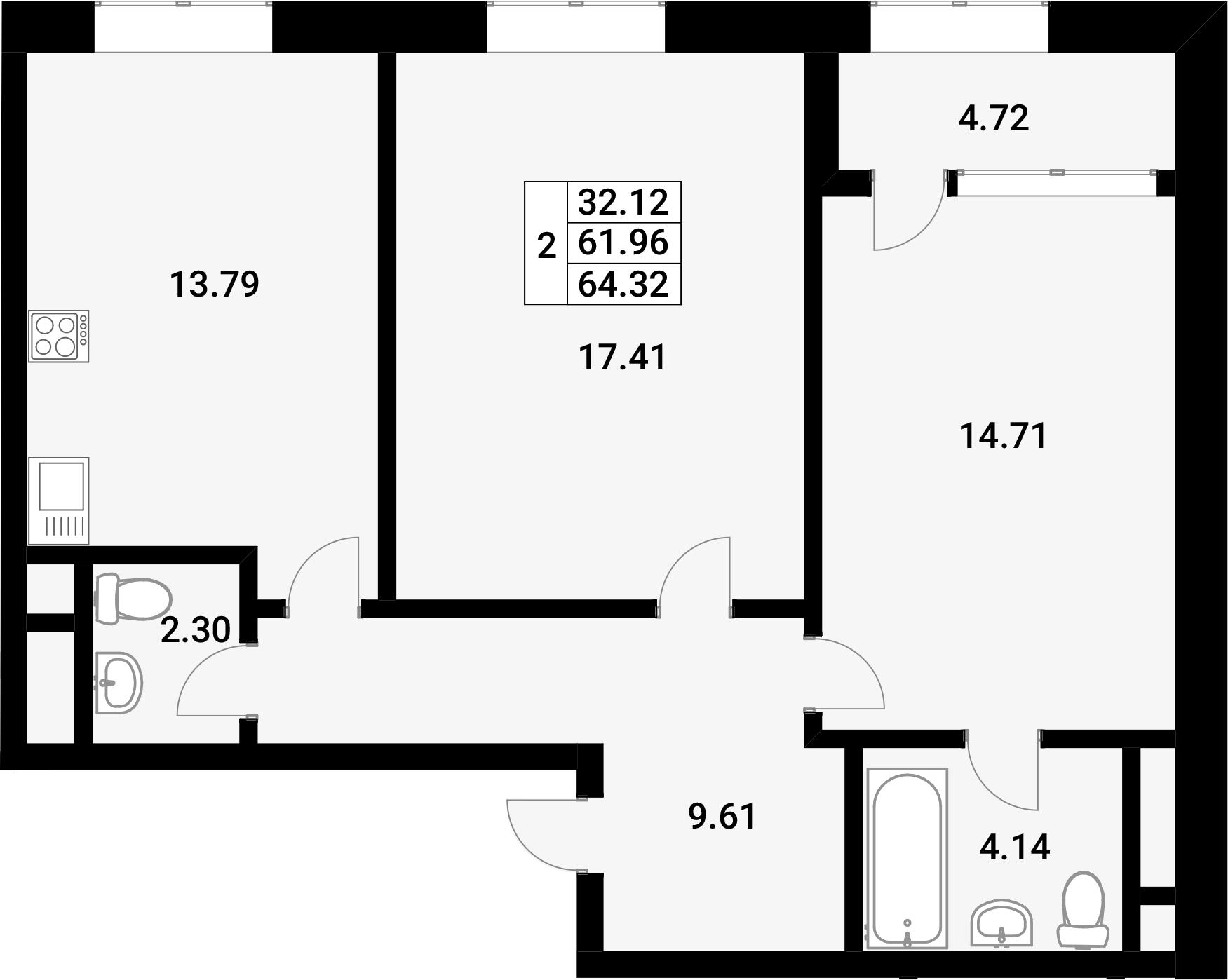 2-к.кв, 66.68 м²