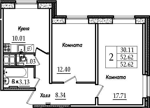 2-к.кв, 52.62 м²