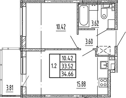 2Е-к.кв, 33.52 м², 3 этаж