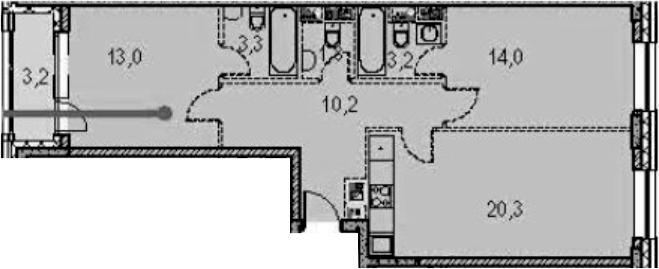 2-к.кв, 77.3 м²