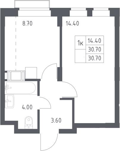 1-к.кв, 30.7 м², 12 этаж
