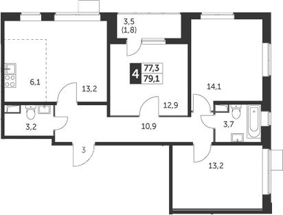 4Е-комнатная, 79.1 м²– 2