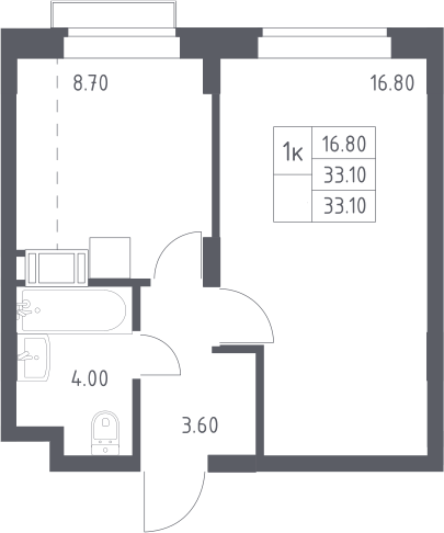 1-к.кв, 33.1 м², 8 этаж