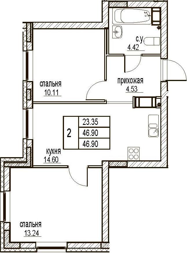 2-комнатная, 46.9 м²– 2