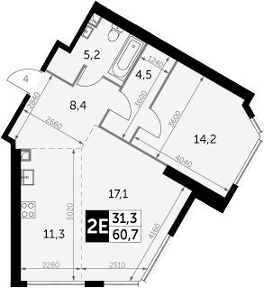 2Е-комнатная, 60.7 м²– 2