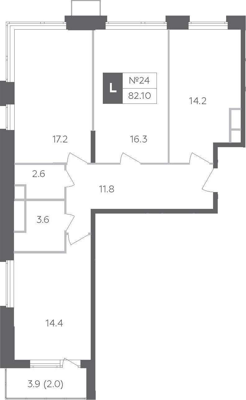 3-к.кв, 82.05 м²