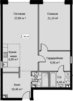 2Е-комнатная, 84.14 м²– 2